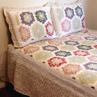 Bedspread with Art Patterns & Patchwork Border Cotton Quilted 3PCS Set Queen