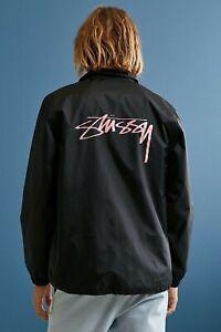 Stussy Spring Coach Black Nylon Pink Logo Jacket Mens Size Large New