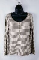Ann Taylor Loft Striped Henley Shirt Top Striped Long Sleeve Womens Medium Brown