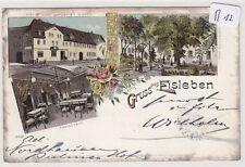 1615, Eisleben Hotel zum goldenen Schiff tolles 3 Bild Litho gelaufen 1901 !