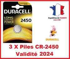3 Piles CR-2450 DURACELL bouton Lithium 3V DLC 2024