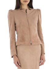 Carla Zampatti Rose Pink Suede Knights Bridge Jacket Musk Suit Coat Silver Zip 6