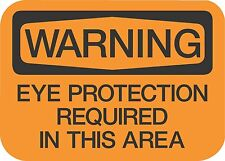 """WARNING EYE PROTECTION  (5 Pack) 3.5"""" x 5"""" Label Sticker Safety Sign Decal"""