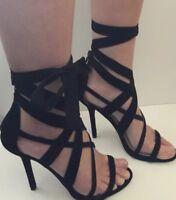 Nine West womens shoes genuine leather strappy heels sandal black size au 7 1/2