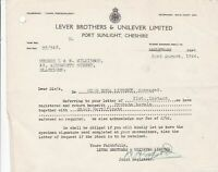 Lever Brothers & Unilever Limited 1944 Port Sunlight Cheshire Letter  Ref 37048