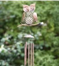 hanging Owl wind chime metal bronze solar light colour changing led Garden tree