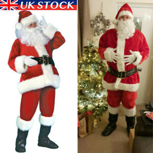 Christmas Santa Claus Cosplay Costume Father Outfit Adult Fancy Dress Xmas Suit