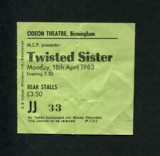 1983 Twisted Sister Concert Ticket Stub Birmingham UK We're Not Gonna To Take It