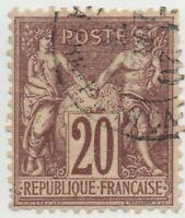 1876/1878 FRANCIA PACE E COMMERCIO 20 CENT. I°TIPO BEN CENTRATO USATO
