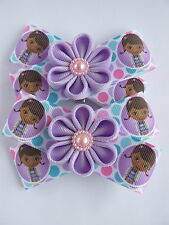 Handmade girls toddler baby hair clips bows Doc McStuffins Character in Gift bag