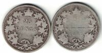 2 X CANADA TWENTY FIVE CENTS QUEEN VICTORIA STERLING SILVER COINS 1874H 1883H