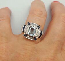 Estate 14k White Gold Emerald Cut Aquamarine Diamond Sapphire Halo Ring Sz 7