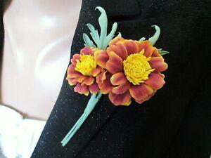 Cotton Flowers Brooch Marigold Wedding Corsage Boutonniere Lapel Pin Handmade