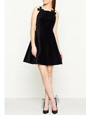 TED BAKER black velvet bow pinafore A-line fit&flare full skirt dress party 4 14