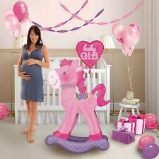 It's a Baby Girl Giant Pink Rocking Horse Balloon Party Nursery Shower AirWalker