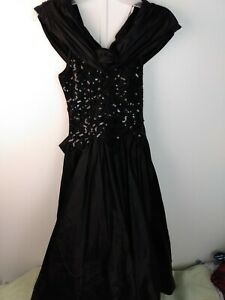Zum Zum Black Satin Sequined Halloween Party Dress Small