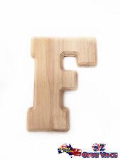 "Large Oak Wood Alphabet Letter ""F"" Natural Brown Uppercase Home Decor Art Craft"