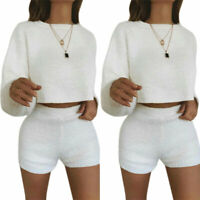 2Pcs Womens Co Ord Cropped Top Bodycon Shorts Pants Set Long Sleeve Knit Sweater