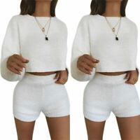 2Pcs Women Crop Tops+Shorts Pants Fleece Fluffy Party Sets Loose Sweater Jumper