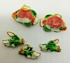 5 x Cloisonne Fish Charms - 2 Large - 3 Small