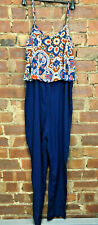 Strappy Blue Jumpsuit/Romper Floral Pattern Top Layer Size 12 Holiday Festival