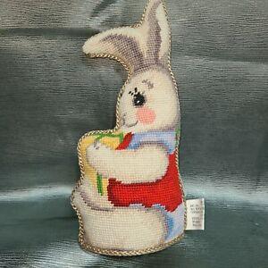 Imperial Elegance Plush Wool Needlepoint Rabbit Easter Christmas Bunny Pillow