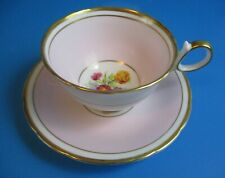 PINK CUP & SAUCER  HEAVEY GOLD TRIM YELLOW & PINK FLOWERS RINGS NICELY EXCELLENT