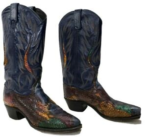 DAN POST 14079 AMAZING WOMAN WESTERN COWBOY SNAKE MULTICOLOR BOOTS SIZE 8.5 M