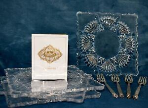 SHANNON IRISH LEAD CRYSTAL Appetizer Plates & Silver Forks Godinger Set of 4