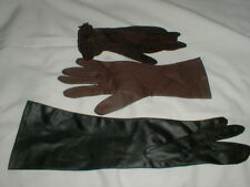 "3 Older Gloves Opera 1950""s or Older Cloth, See Through, Faux Leather Vintage"