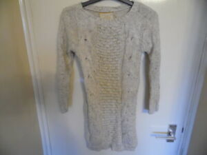 Girls Cream Long Sleeve Cable Knit Sparkly Jumper with Wide Neck size 11-12years