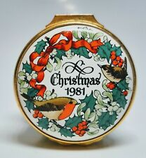 "Halcyon Days Enamels ""Christmas 1981"" English Trinket Box"