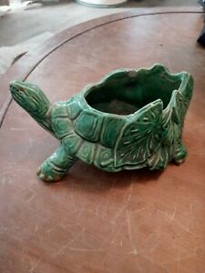 Vintage McCoy Pottery Green Turtle Lilies Leaves Planter Marked With Bars