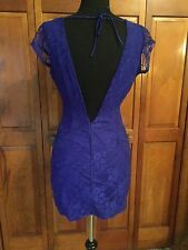 Dark Purple Backless Lace Dress Size S Small 0-5 Game day Clemson