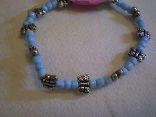 Silver Butterfly & Blue Bead Bracelet - B246