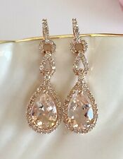 Solid 10k Rose Gold Genuine Morganite & Diamond Halo Dangle/Drop Earrings, New