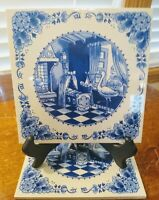 Vtg Royal Goedewaagen Authentic Delft Hand Decorated Birth Announcement Tile