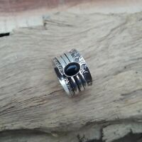 Black Onyx Solid 925 Sterling Silver Spinner Meditation Statement Ring V880
