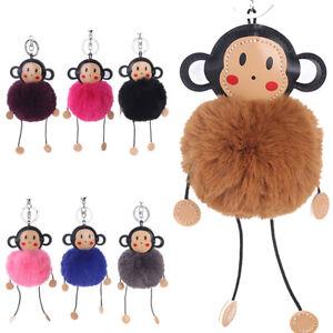 Keyring Soft Faux Fluffy Monkey Rabbit Fur Handbag Pendant Charm PomPom Keychain