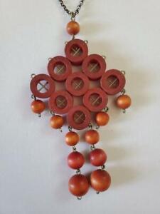 Vintage Modernist Kaija AARIKKA Finland Red Wood Necklace