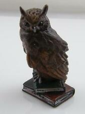 COLD PAINTED BRONZE OWL ON BOOKS PAPERWEIGHT