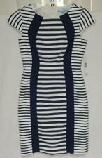 New ANTONIO MELANI Women's Ivory Navy Striped Cap Sleeve Sheath Dress Size 2