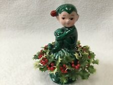 Vintage Ceramic Knee Hugger Pixie Elf with a Holly Berry Wreath by Inarco Japan