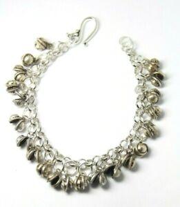 "Belly Dance Charm Chiming Bracelet Dancers Clapper less Bell Silver Brass 7"""