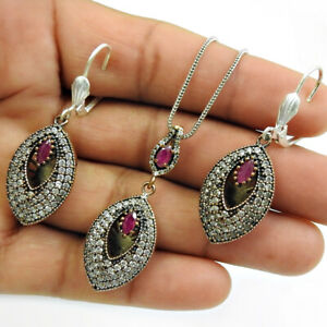 Natural Ruby CZ Earring Pendant Set 925 Sterling Silver Jewelry RS27
