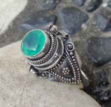 Silver, 925 Balinese Poison Ring 39174 Size 9.5 (Us) Green Agate Solid