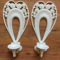 """2 17"""" Sconces WHITE Candle Holders PLASTIC WICKER Burwood Home Interiors 127"""