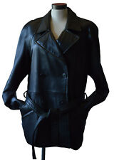 DANIER Women's Leather Jacket Black Double Breasted Four Buttons Large Size Coat