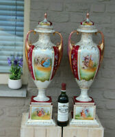 "Huge 30.7"" Pair German porcelain marked Victorian romantic Vases"