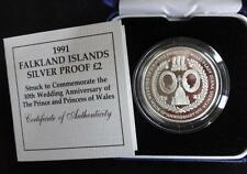 1991 SILVER PROOF FALKLANDS £2 COIN BOX + COA 10th WEDDING ANNI CHARLES & DIANA